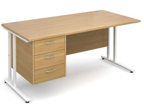 GM Cantilever Desk With Three Drawer Pedestal Oak With White Frame