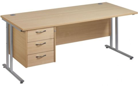 GM Cantilever Desk With Three Drawer Pedestal