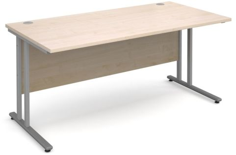 Gm Rectangular Cantilever Desk Maple With Silver Frame