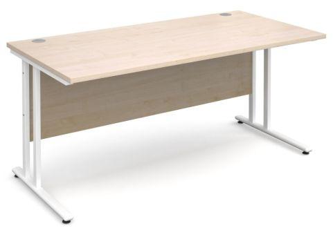 Gm Rectangular Cantilever Desk Maple With White Frame