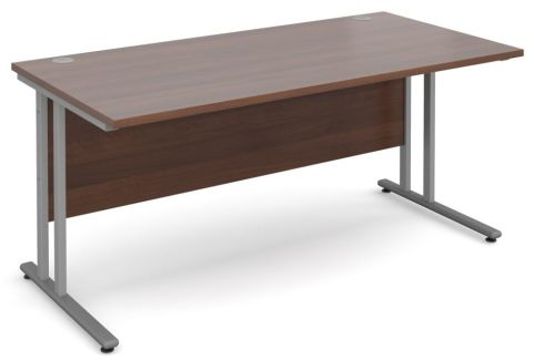 Gm Rectangular Cantilever Desk Walnut With Silver Frame