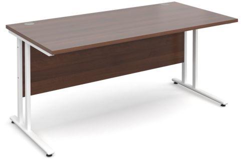 Gm Rectangular Cantilever Desk Walnut With White Frame