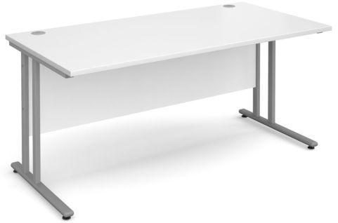 Gm Rectangular Cantilever Desk White With Silver Frame