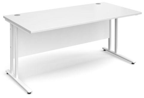 Gm Rectangular Cantilever Desk White With White Frame