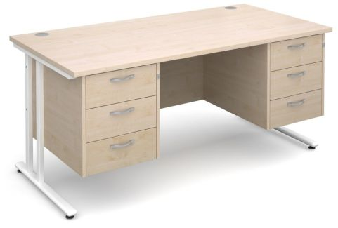 Gm Rectangular Desk With Two Sets Of Drawers Maple With White Frame