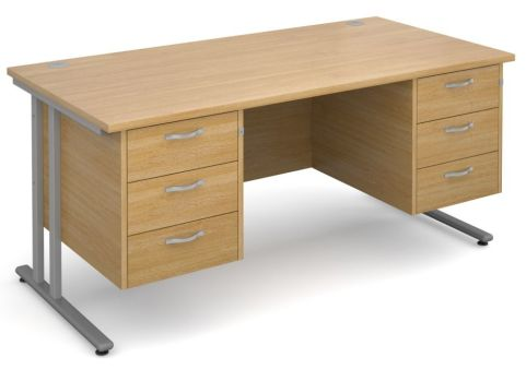 Gm Rectangular Desk With Two Sets Of Drawers Oak With Silver Frame