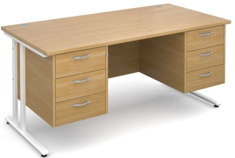 Gm Rectangular Desk With Two Sets Of Drawers Oak With White Frame