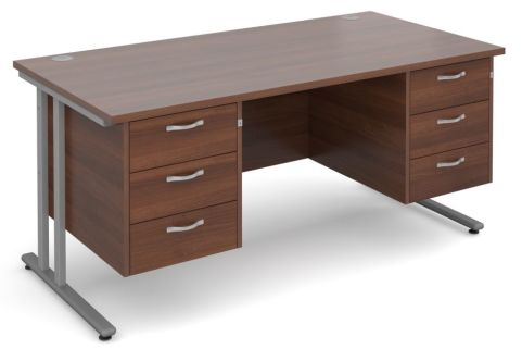 Gm Rectangular Desk With Two Sets Of Drawers Walnut With Silver Frame