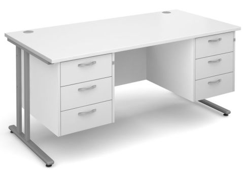 Gm Rectangular Desk With Two Sets Of Drawers White With Silver Frame