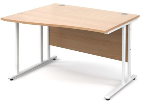 GM Left Hand Wave Desk Beech With White Frame