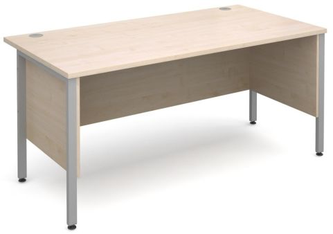 GM H Frame Desk Maple With Silver Frame