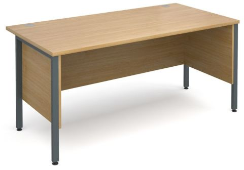 GM H Frame Desk Oak With Graphite Frame