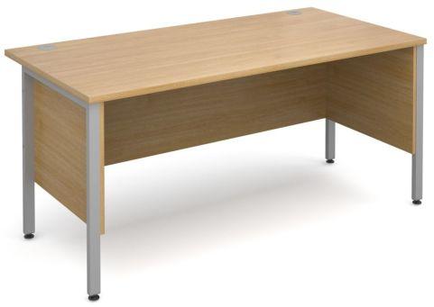 GM H Frame Desk Oak With Silver Frame