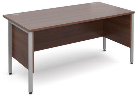 GM H Frame Desk Walnut With Silver Frame