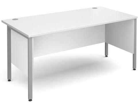 GM H Frame Desk White With Silver Frame