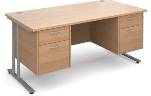 GM Double Pedestal Desk Beech With Silver Frame