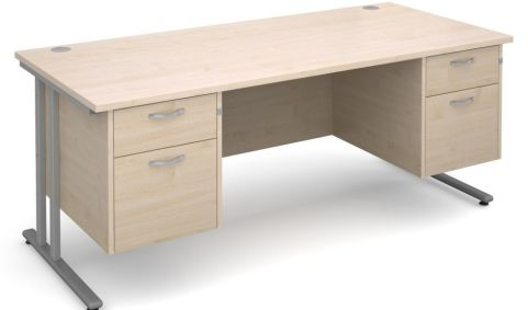 GM Double Pedestal Desk Maple With Silver Frame
