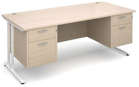 GM Double Pedestal Desk Maple With White Frame