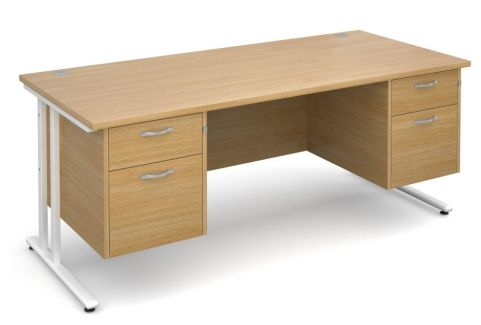 GM Double Pedestal Desk Oak With White Frame