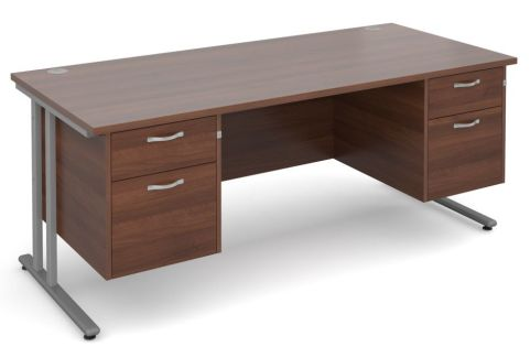 GM Double Pedestal Desk Walnut With Silver Frame