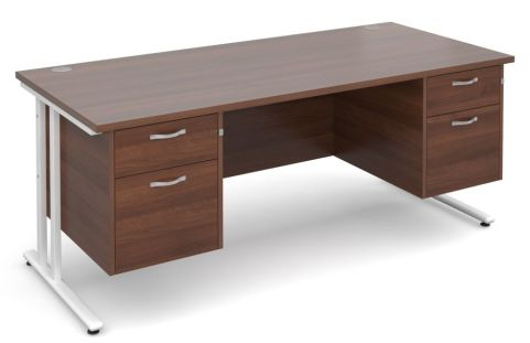 GM Double Pedestal Desk Walnut With White Frame