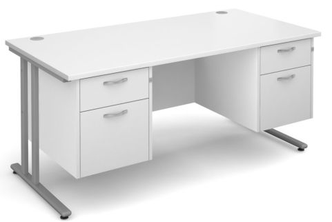 GM Double Pedestal Desk White With Silver Frame