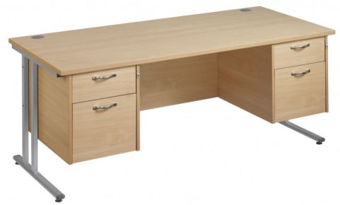 GM Double Pedestal Desk With Two Sets Of Drawer Units
