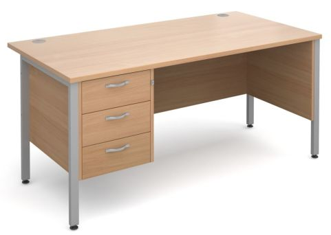 GM H Frame Desk With Three Drawer Pedestal Beech With Silver Frame
