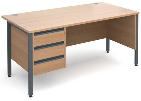 GM H Frame Desk With Three Drawer Pedestal In Beech With Graphite Frame