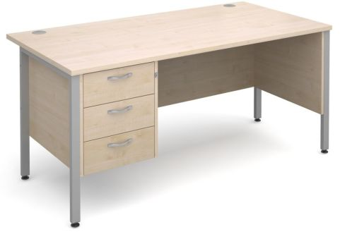 GM H Frame Desk With Three Drawer Pedestal In Maple With Silver Frame