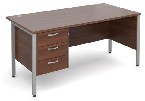 GM H Frame Desk With Three Drawer Pedestal In Walnut With Silver Frame