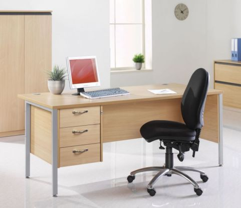 GM H Frame Desk With Three Drawer Pedestal Mood View