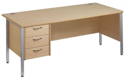 GM H Frame Desk With Three Drawer Pedestal