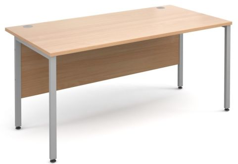 GM Desk H Frame Beech With Silver Frame