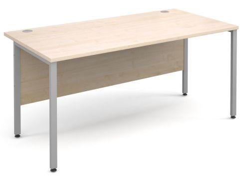 GM Desk H Frame Maple With Silver Frame