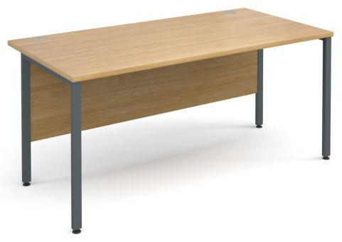 GM Desk H Frame Oak With Graphite Frame