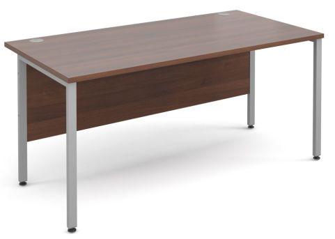 GM Desk H Frame Walnut With Silver Frame
