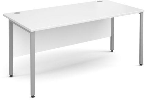 GM Desk H Frame White With Silver Frame