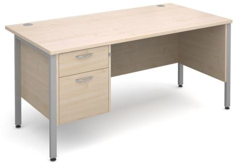 GM H Frame Desk And Two Drawer Pedestal Maple With Silver Frame