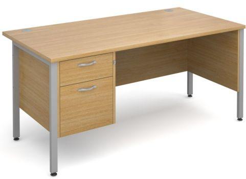 GM H Frame Desk And Two Drawer Pedestal Oak With Silver Frame