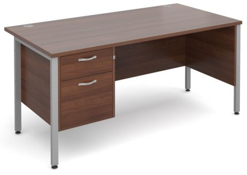 GM H Frame Desk And Two Drawer Pedestal Walnut With Silver Frame