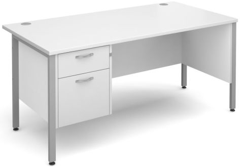 GM H Frame Desk And Two Drawer Pedestal White With Silver Frame