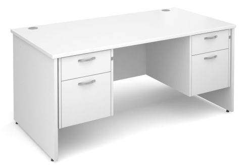 GM Double Pedestal Panel Desk Two Drawer White