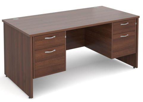 GM Double Pedestal Panel Desk Two Drawer Walnut