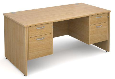 GM Double Pedestal Panel Desk Two Drawer Oak