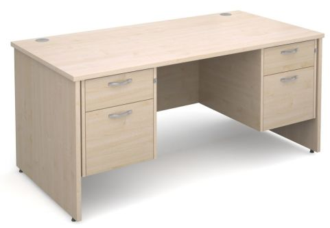 GM Double Pedestal Panel Desk Two Drawer Maple