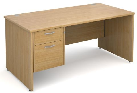 GM Panel Desk And Two Drawer Pedestal Oak