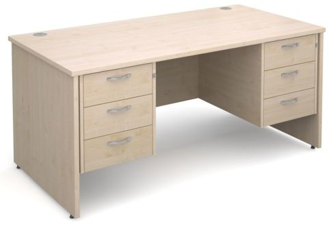 GM Panel Desk And Two Drawer Pedestal Maple