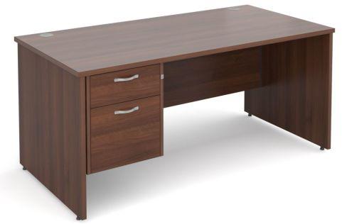 GM Panel Desk And Two Drawer Pedestal Walnut