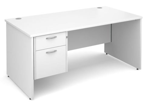 GM Panel Desk And Two Drawer Pedestal White